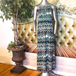 Brown Green Tan Sequin Zigzag Long Dress